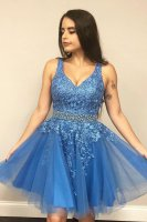 Lace Accented Sky Blue Knee Length Short Cocktail Dress With Crystal Belt