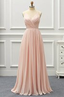 Two Straps Voluminous Pleats Chiffon Skirt Blush Pink Bridesmaid Dress For Wedding