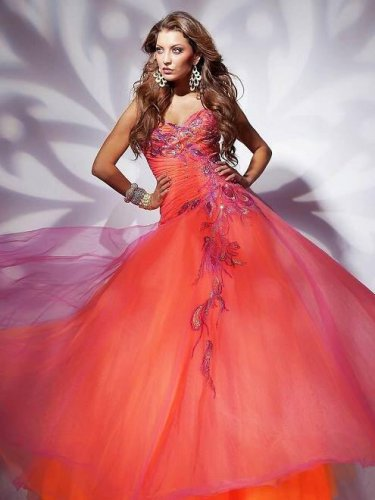 Sweetheart Neckline Multicolor Orange and Purple Floor Length Prom Gowns