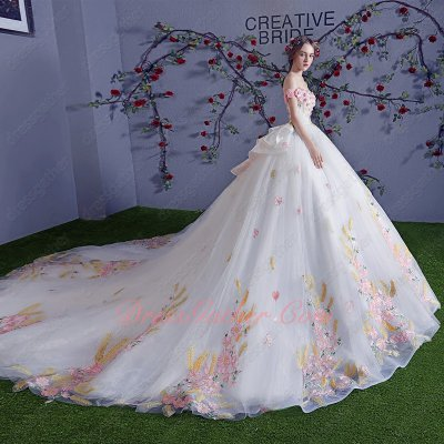Off Shoulder Pink Flower and God Wheat Ear White Wedding Bridal Gowns Cathedral Train