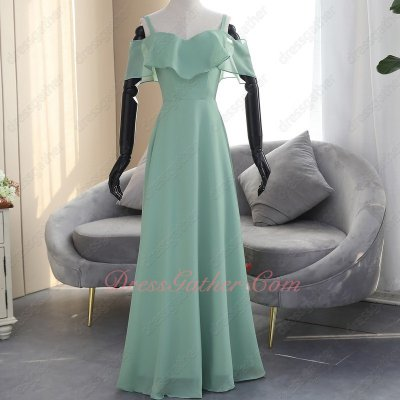Dark Mint Green Falbala Spaghetti Straps Flowing Chiffon 2019 Wedding Bridesmaid Dress