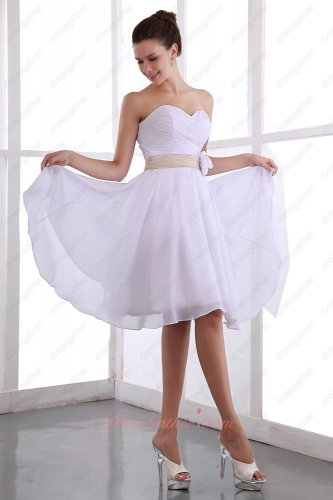 Crossed Pleating Knee Length Chiffon Skirt Bridesmaid Dress White With Champagne Belt