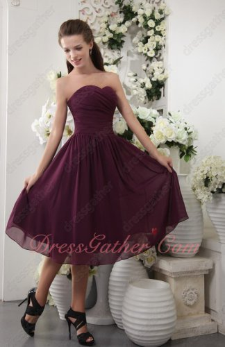Elegant Purple Sweetheart Knee-length Chiffon A-line Silhouette Bridesmaid Dress