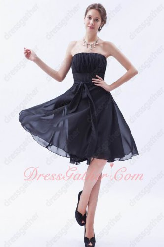Attend Wedding Ceremony Strapless Knee Length Black Bridesmaid Dress Cheap