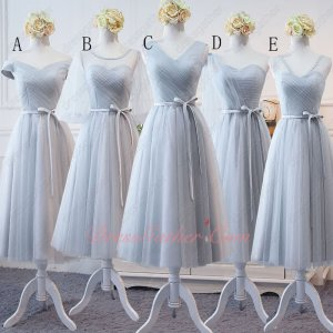 Popular Color Silver Tulle Series Bridesmaid Tea-Length For Pretty Girls