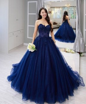 Elegant Sweetheart Applique A-Line Court Train Royal Blue Sweet 16 Ball Gown Quinceanera