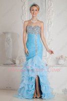 Beaded Bodice Aqua High Low Layers Mermaid Pageant Party Dress High Quality