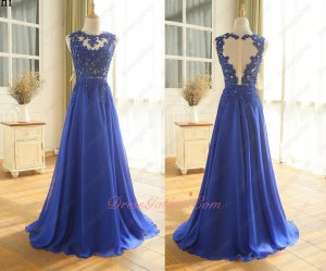 Nude Bodice Appliques Beads Floor Length A-line Flowing Chiffon Prom Evening Gowns