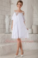 Faddish/Vogue Off Shoulder Empire White Chiffon Designer Short Prom Evening Dress