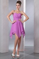Flattering Deep Lilac/Mallow Chiffon Inverted Triangle Skirt Prom Dress Casual
