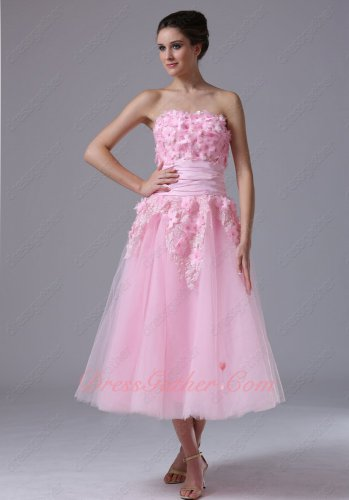 Sweet Pink Princess Gauze Serried Florets Bodice Tea Length Chorus Prom Dress