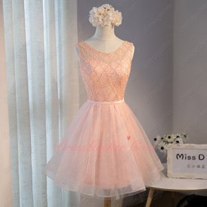 Pearl Bodice Knee Length Puffy Blush Tulle Homecoming Dress Girl Prefer