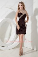 Full Oblique Ruching Beadwork Crystal Brown Package Hips Little Prom Event Dress