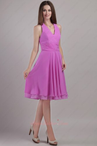 Halter Top Lilac Chiffon Two Layers Hemline Short Evening Dress Low Price
