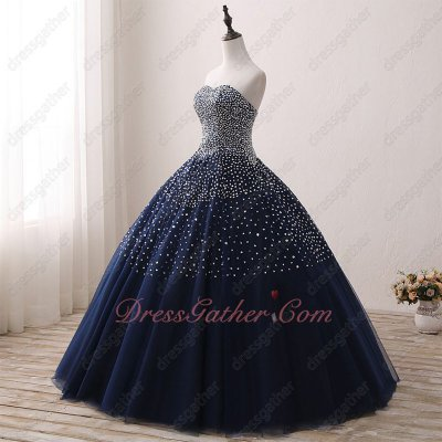 Fascinating Navy Blue Bulgy Tulle Quinceanera Court Gowns Sewn Ablaze Silver Beading