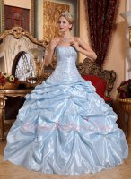 Glossy Baby Blue Taffeta Picks-up Fluffy Cake Skirt Quinceanera Ball Gown Mature