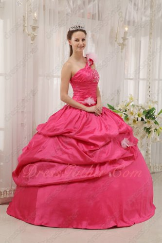 Hot Pink Taffeta Aulic Quinceanera Dress With One Shoulder Cake Ball Gown