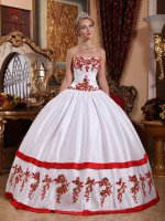 Natural Waist Full Polyester Boning White Court Ball Gown With Red Applique/Rolled Edge