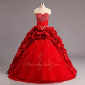Discount Taffeta Bubble and Tulle Quinceanera Court Dress Lace Basque Inexpensive