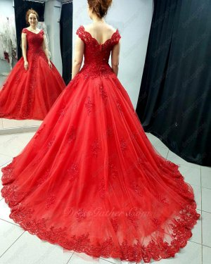 Puffy Red Sparkle Tulle Lacework Hemline 2019 Prom Evening Dress For Women Wear