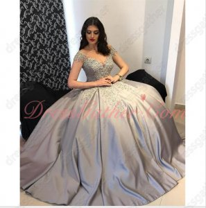 Off Shoulder Silver Thick Satin High Quality Ruched Puffy Prom Pageant Ball Gown