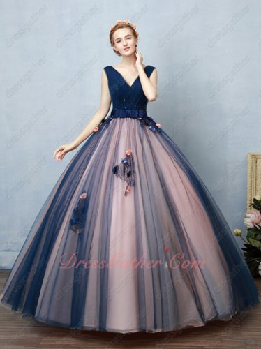 Navy Blue and Blush Contrast Color Ingenious Design Ball Gown Social Contact Party
