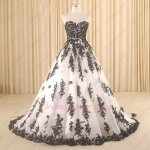 Classical White Dress With Black Details Collocation Puffy Military Ball Gown