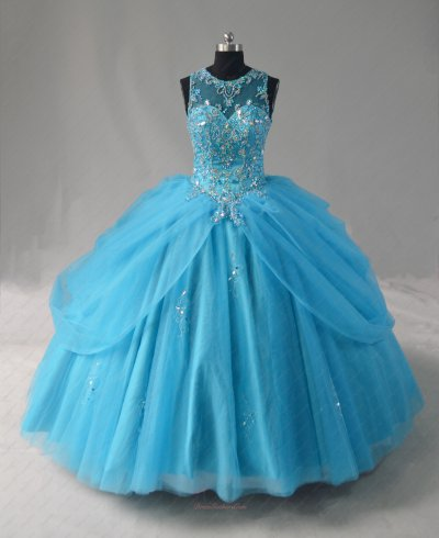 Designer AB Crystals Basque Aqua Blue Tulle Flutters Curtain Quinceanera Gown