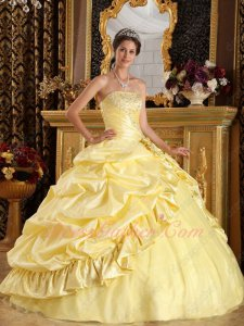 Daffodil Taffeta Military Pageant Sweet 16 Ball Gown With Symmetrical Bubble