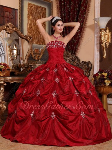 Designer Wine Red Pick-Up/Bubble Taffeta Floor Length Evening Ball Gown Quince Palace