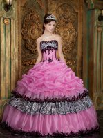 Nifty Pink Quinceanera Dress Organza Bubble Zebra Cake Skirt With Black Lacework