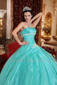 Leisure Floor Length Quince Court Ball Dresses By Apple Green Organza