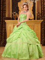 Spring Green Taffeta Silver Embroidery Military Ball Gown Different