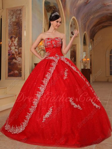 Red Floor Length Cheap Quinceanera Dress Sparkle Sequin Lining Inside