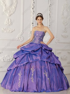 Appliqued Violet Purple Taffeta Special Day/Occasion Ball Dress Wholesale Price
