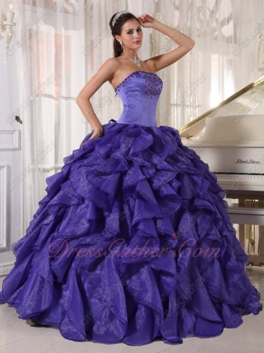 Heliotrope Blue Purple Cerried Organza Ruffles Eligible Lady Evening Ball Gown
