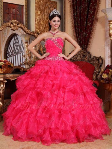 Coral Dense Organza Ruffles Fitted Waist Quinceanera Gown With Silver Handwork Beading