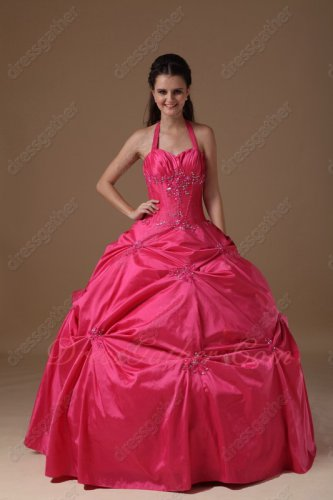 Halter Top Hot Pink Taffeta Puffy High School Quinceanera Ball Gown Romantic