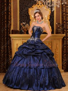 Remarkable Handmade Navy Blue Dress To Girls Quinceanera Party Concert Hall Ball Gown