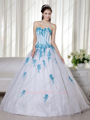 Elegant Pure White A-line Quinceanera Military Ball Gown With Aqua Blue Applique