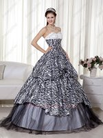 Smart Printing Zebra Fabric Quinceanera Dress Classical Black and White Blendent