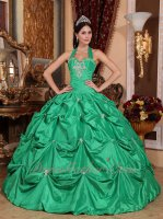 Halter Spring Green Taffeta Full Bubble/Pick Up Skirt Quince Court Dress Good Reviews