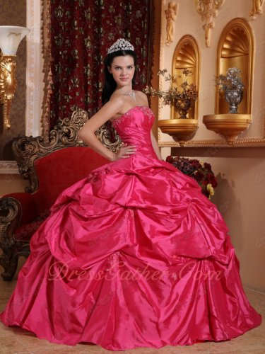 Famous Designer Deep Hot Pink Taffeta Quinceanera Ball Gown Most Choice