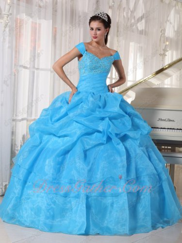 Off Shoulder Aqua Blue Organza Music Festival Quince Ball Gown Free Shipping