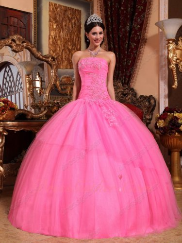 Princess Rose Pink Mesh Pin-tucks Dropped Waistline Girls Wear Quince Court Gown Puffy