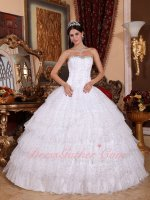 White Cascade Layers Sparkle Tulle Puffy Sweet 16 Ball Gown Stage Prop Dress