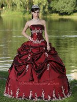 Western Style Burgundy Taffeta Silver Details Quinceanera Ball Gown Manuscript