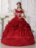 Straps Square Neck Wine Red Taffeta Sweet 16 Party Ball Gowns Embroidery