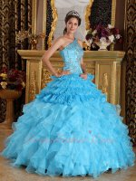Aqua Blue Half Layers Half Ruffles Quinceanera Dress One Shouler Style