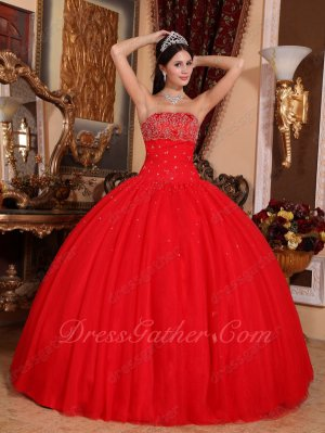Sleeveless Beading 5 Layers Tulle/Mesh Fluffy Quince Ball Gown Floor Length Scarlet Red